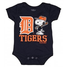 MLB Licensed Detroit Tigers Boys Snoopy Bodysuit Creeper Crawler (3-6 Months)