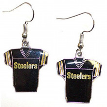 NFL Officially Licensed Pittsburgh Steelers Jersey Style Dangle Earrings