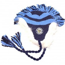 NHL Officially Licensed Pittsburgh Penguins Blue Face Off Collection Fur Lined Mohawk Beanie