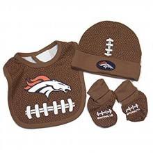NFL Officially Licensed Denver Broncos Infant Headwear, Bib and Booties Set (0-6 Months)