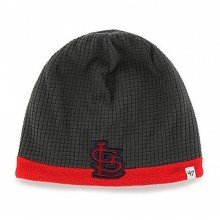 MLB Officially Licensed St. Louis Cardinals Youth Charcoal Grid Embroidered Cuffless Knit Beanie Hat
