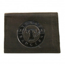 MLB Officially Licensed Texas Rangers Embossed Black Leather Tri-Fold Wallet