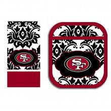 NFL Licensed San Francisco 49ers Damask Kitchen Towel and Pot Holder Set