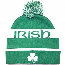 Irish Embroidered Clover Cuffed Pom Beanie Hat Cap Lid Skull