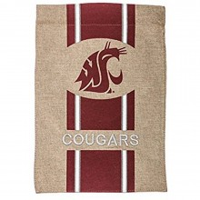 "NCAA Licensed Washington State Cougars Burlap 28"" x 44"" House Flag"
