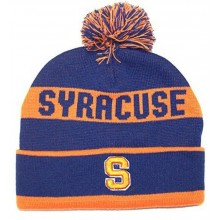 NCAA Officially Licensed Syracuse Orange Team Name Blue Cuffed Pom Beanie Hat Cap Lid