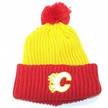 NHL Officially Licensed Calgary Flames American Needle Black Yellow Cuffed Pom Beanie Hat Cap Lid