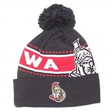 NHL Officially Licensed Ottawa Senators Black Red Stripe Team Name Cuffled Pom Beanie Hat Cap Lid