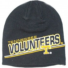 NCAA Officially Licensed Tennessee Volunteers Black Large Logo Embroidered Beanie Hat Cap Lid
