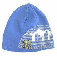 """NBA Officially Licensed Denver Nuggets Double Logo """"College Cut"""" Beanie Hat Cap Lid"""