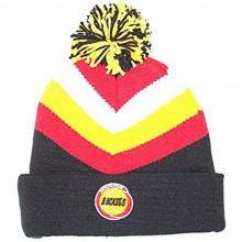 NBA Officially Licensed Houston Rockets Mitchell & Ness Knit Black Red Yellow Striped Cuffed Beanie