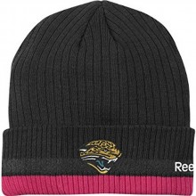 NFL Reebok Sideline Jacksonville Jaguars Black - Pink Breast Cancer Awareness Cuffed Knit Beanie