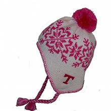 NCAA Officially Licensed Tennessee Lady Volunteers Pink & White Snowflake Pom with Tassles Beanie Hat Cap Lid Toque