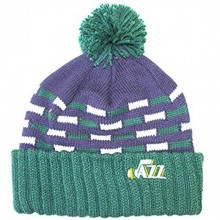 NBA Officially Licensed Utah Jazz Knit Team Color Dotted Stripes Cuffed Pom Beanie Hat Cap Lid Toque