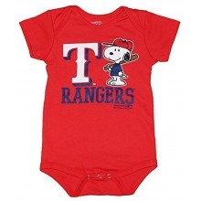 MLB Licensed Texas Rangers Boys Snoopy Bodysuit Creeper Crawler (18 Months)