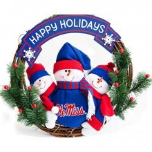 NCAA Licensed Ole Miss Rebels Olde World Snowman Christmas Wreath