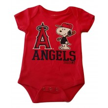 MLB Licensed Anaheim Angels Boys Snoopy Bodysuit Creeper Crawler