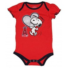 MLB Licensed Anaheim Angels Girls Snoopy Bodysuit Creeper Crawler