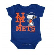 MLB Licensed New York Mets Boys Snoopy Bodysuit Creeper Crawler