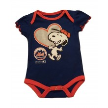 MLB Licensed New York Mets Girls Snoopy Bodysuit Creeper Crawler
