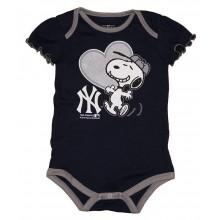 MLB Licensed New York Yankees Girls Snoopy Bodysuit Creeper Crawler