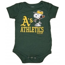 MLB Licensed Oakland Athletics A's Boys Snoopy Bodysuit Creeper Crawler