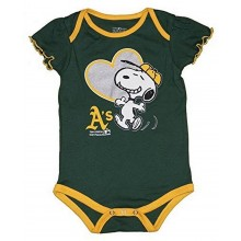 MLB Licensed Oakland Athletics A's Girls Snoopy Bodysuit Creeper Crawler