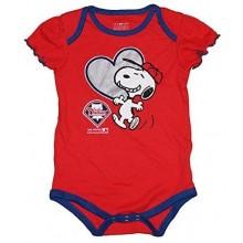 MLB Licensed Philadelphia Phillies Girls Snoopy Bodysuit Creeper Crawler (6-9 Months)