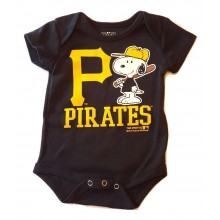 MLB Licensed Pittsburgh Pirates Boys Snoopy Bodysuit Creeper Crawler (0-3 Months )