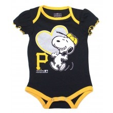 MLB Licensed Pittsburgh Pirates Girls Snoopy Bodysuit Creeper Crawler