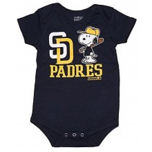 MLB Licensed San Diego Padres Boys Snoopy Bodysuit Creeper Crawler Romper (6-9 months)