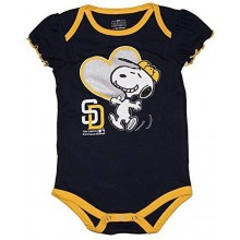 MLB Licensed San Diego Padres Girls Snoopy Bodysuit Creeper Crawler (0-3 Months)