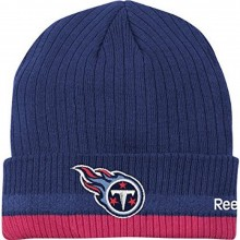NFL Reebok Sideline Tennessee Titans Blue - Pink Breast Cancer Awareness Cuffed Knit Beanie