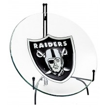 "NFL Officially Licensed Oakland Raiders 18"" x 3"" Embossed Glass Bird Bath Bowl WITHOUT STAND"
