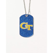 Georgia Tech Yellow Jackets Glitter Dog Tag Necklace