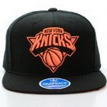 NBA Licensed Solid Black With Neon Logo Snapback Cap Hat (New York Knicks)