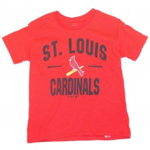 MLB Officially Licensed St. Louis Cardinals Black Print Bird on Bat YOUTH T-Shirt