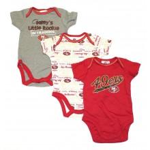 NFL Licensed San Francisco 49ers 3 Piece Bodysuit Creeper Crawler Set