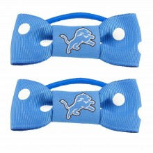 Detroit Lions Bow Pigtail Holders