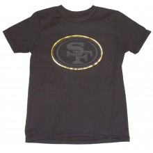 NFL Officially Licensed San Francisco 49ers Reflective Gold Outline Logo Black Youth T-Shirt