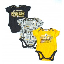 NFL Licensed 2015 Pittsburgh Steelers 3 Piece Bodysuit Creeper Crawler Set