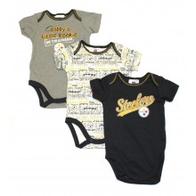 NFL Licensed Pittsburgh Steelers 3 Piece Bodysuit Creeper Crawler Set