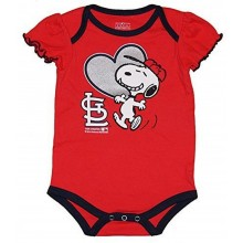 MLB Licensed St. Louis Cardinals Girls Snoopy Bodysuit Creeper Crawler (0-3 Months)