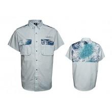A-Game Camo Elixir Ultra Marine Blue Short Sleeve Button Down Shirt