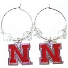NCAA Officially Licensed Nebraska Cornhuskers Beaded Hoop Earrings