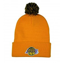 NBA Officially Licensed Los Angeles Lakers Gold and Purple Cuffed with Pom Beanie
