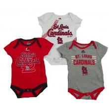 MLB Licensed St. Louis Cardinals 3 Piece Infant Baby Bodysuit Creeper Crawler Set (24 Months)