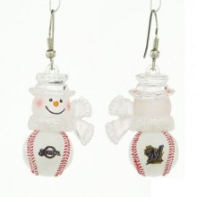 Milwaukee Brewers Snowman Baseball Earrings