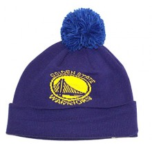 NBA Officially Licensed Golden State Warriors Blue Cuffed Pom Beanie Hat Cap Lid