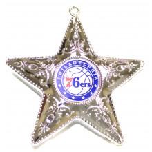 "Philadelphia 76ers  4"" Silver Star Ornament"